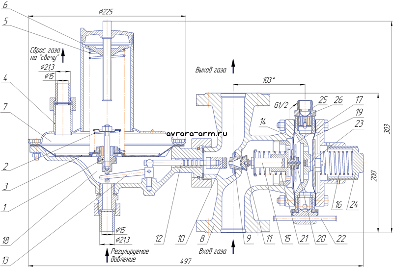 Регулятор давления газа РДУ-32/Ж