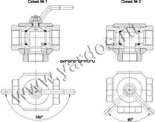 Присоединительные концы трехходовых кранов могут быть: * муфтовые, в том числе под манометр; * фланцевые по ГОСТ...